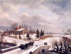Pennsylvania Winter Scene - Thomas Birch Oil Painting