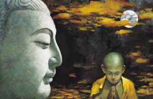 Buddha and Child Monk - Oil Painting Reproduction On Canvas
