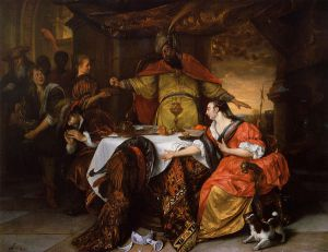 The Wrath of Ahasuerus - Jan Steen oil painting