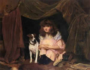 The Hiding Place -Charles Burton Barber Oil Painting