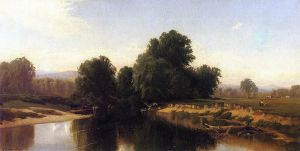 Cattle by the River - Alfred Thompson Bricher Oil Painting
