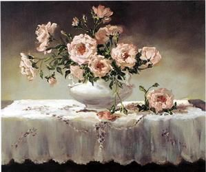 A bunch of pink flowers in a white porcelain vase - Oil Painting Reproduction On Canvas