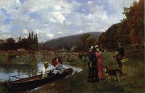 The Seine at Bougival -   Julius LeBlanc Stewart Oil Painting