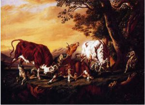 Wolves Attacking Cattle - William Aiken Walker Oil Painting