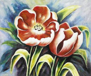 Bavarian Tulips IV - Oil Painting Reproduction On Canvas