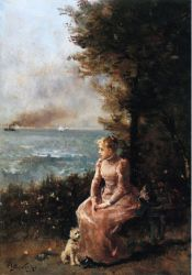 A Young Girl Seated by a Tree - Oil Painting Reproduction On Canvas