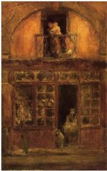A Shop with a Balcony - James Abbott McNeill Whistler Oil Painting