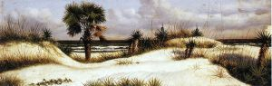 Florida Seascape with Sand Dune, Palm Tree, and Yuccas - William Aiken Walker Oil Painting