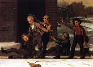Winter Sports in the Gutter - John George Brown Oil Painting