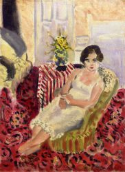 Seated Figure, Striped Carpet - Oil Painting Reproduction On Canvas
