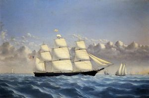 Clipper Ship 'Golden West' of Boston, Outward Bound - William Bradford Oil Painting