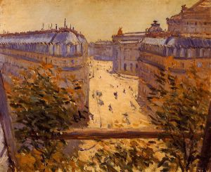 Rue Halevy, Balcony View - Gustave Caillebotte Oil Painting