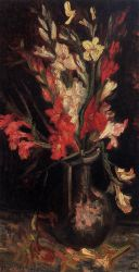 Vase with Red Gladioli - Vincent Van Gogh Oil Painting