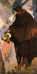 Elderly Castellano Pouring Wine -   Joaquin Sorolla y Bastida Oil Painting
