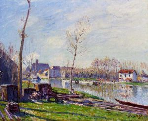Construction Site at Matrat, Moret-sur-Loing - Alfred Sisley Oil Painting