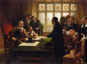 Oliver Cromwell and His Secretary John Milton, Receiving a Deputation Seeking Aid for the Swiss Protestants - Charles West Cope Oil Painting