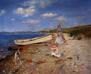 A Sunny Day at Shinnecock Bay - William Merritt Chase Oil Painting