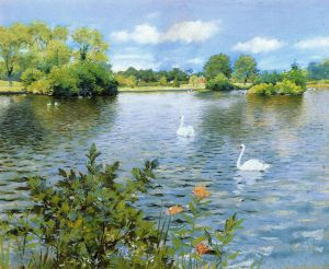A Long Island Lake - William Merritt Chase Oil Painting