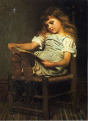 First Reader - John George Brown Oil Painting