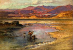 Crossing an Oasis, with the Atlas Mountains in the Distance, Morocco - Frederick Arthur Bridgeman Oil Painting