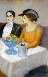 Man and Woman a the Table: Angel Fernandez de Soto and his Friend - Pablo Picasso Oil Painting