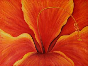 Golden Hibiscus (Right) - Oil Painting Reproduction On Canvas