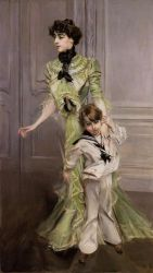 Portrait of Madame Georges Hugo (nee Pauleen Menard-Dozian) and Her Son, Jean - Giovanni Boldini Oil Painting