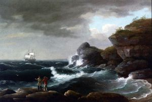 Coastal Scene - Thomas Birch Oil Painting