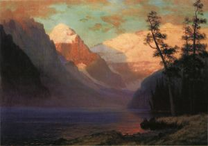 Evening Glow, Lake Louise - Albert Bierstadt Oil Painting