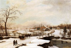 Philadelphia Winter Landscape - Thomas Birch Oil Painting