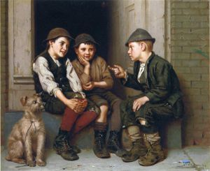 Plotting Mischief - John George Brown Oil Painting