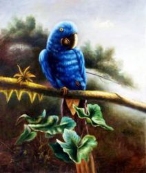 A Blue Parrot Standing on a Branch - Oil Painting Reproduction On Canvas
