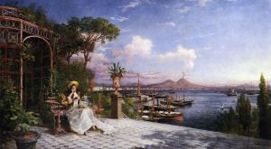 Lost in Reverie by The Bay of Naples -Giuseppe Castiglione Oil Painting