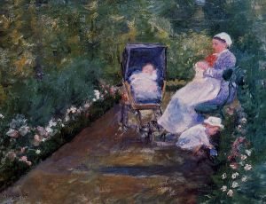 Children in a Garden - Mary Cassatt Oil Painting