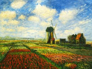 Tulip Field with the Rijnsburg Windmill II - Claude Monet Oil Painting