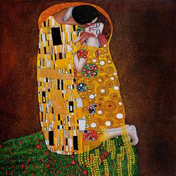 The Kiss (Full View) - Oil Painting Reproduction On Canvas Gustav Klimt Oil Painting