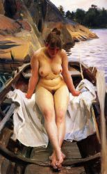 In Werner's row boat - Anders Zorn Oil Painting
