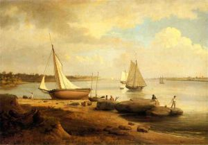 View on the Delaware - Thomas Birch Oil Painting
