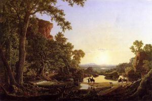 Hooker and Company Journeying through the Wilderness from Plymouth to Hartford, in 1636 - Frederic Edwin Church Oil Painting