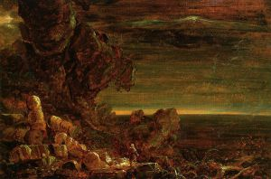 The Cross and the World: Study for 'The Pilgrim of the World at the End of His Journey' - Thomas Cole Oil Painting
