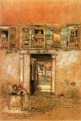 Courtyard and Canal - James Abbott McNeill Whistler Oil Painting