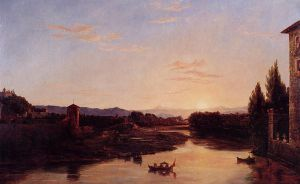 Sunset on the Arno - Thomas Cole Oil Painting
