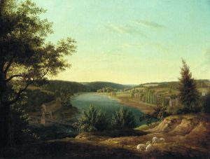 View of the Chain Bridge and Falls of Schuykill, Five Miles from Philadelphia - Thomas Birch Oil Painting