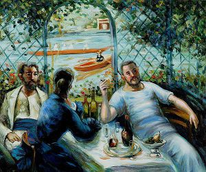 Lunch at the Resturant Fournaise (The Rowers\' Lunch) -  Pierre Auguste Renoir Oil Painting