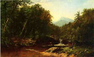 Fisherman by a Mountain Stream - Alfred Thompson Bricher Oil Painting