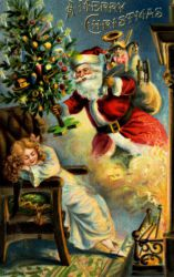 Christmas Father Brings Gifts - Oil Painting Reproduction On Canvas