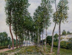 Lane of Poplars on the Banks of the Loing - Alfred Sisley Oil Painting