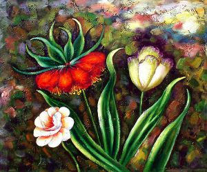Three Flowers Blooming - Oil Painting Reproduction On Canvas
