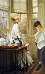 Reading the News - James Tissot oil painting