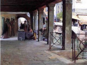 Venetian Market Scene - Oil Painting Reproduction On Canvas